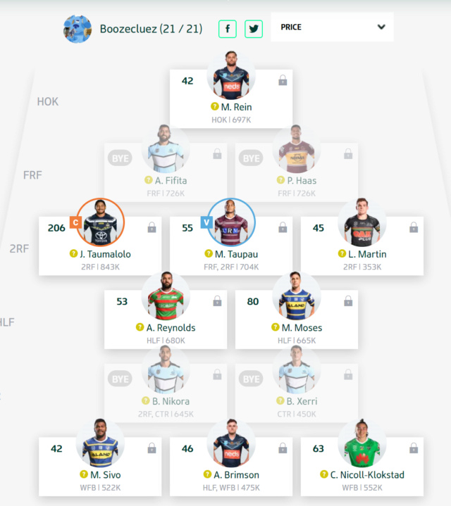 Trials and Tribulations of a NRL Fantasy Coach 2019 - End result 40th - Page 8 Round116