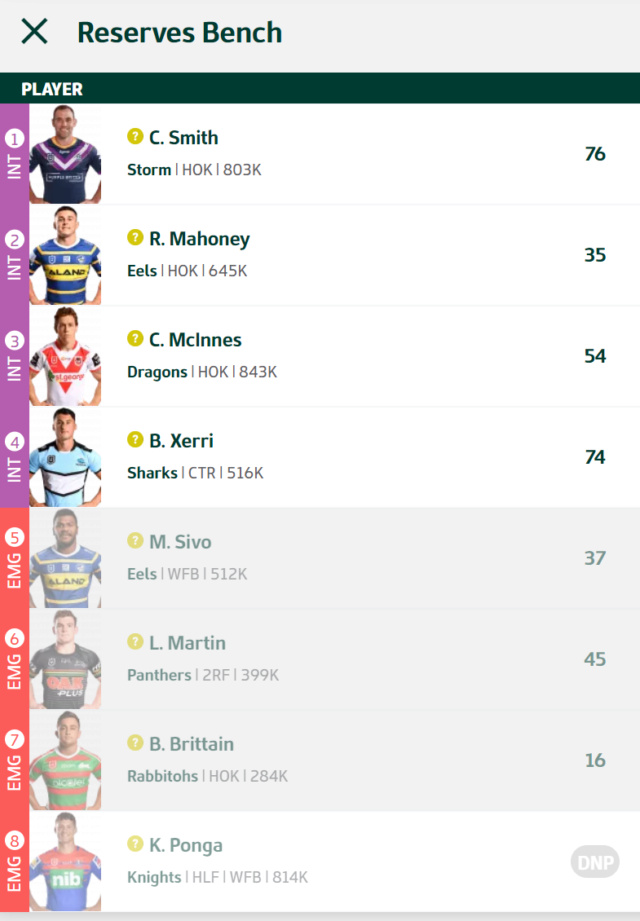 Trials and Tribulations of a NRL Fantasy Coach 2019 - End result 40th - Page 8 Round122
