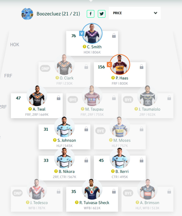 Trials and Tribulations of a NRL Fantasy Coach 2019 - End result 40th - Page 10 Round134