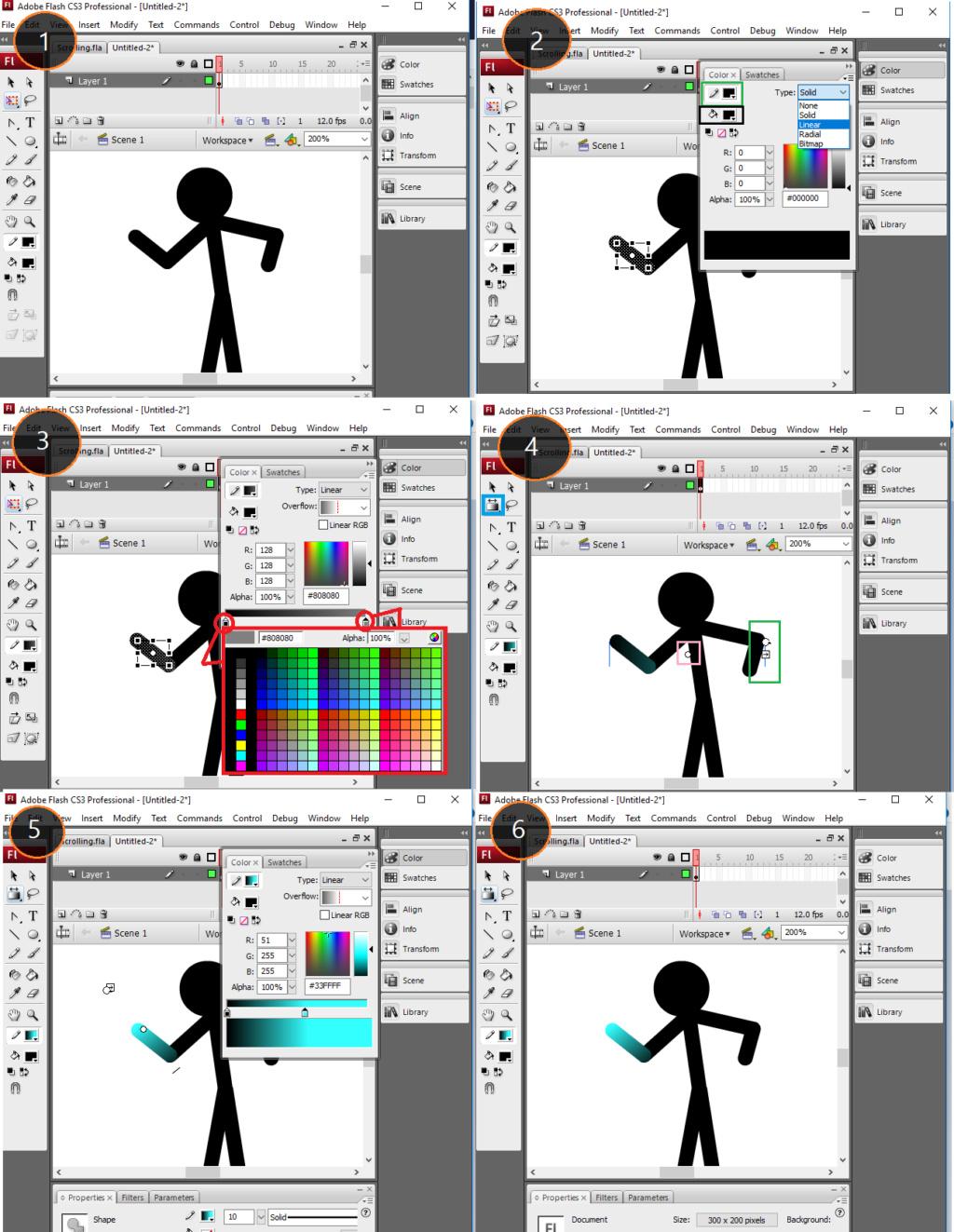 วิธีการลงสีแบบไล่สีใน Flash (ในกระทู้นี้ใช้ Flash CS3) Gradie10