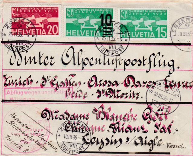 1.Winterluftpost-Flug in den Bündner Alpen  1512