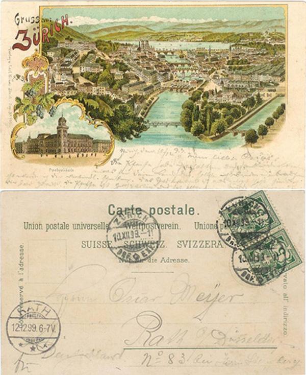 Alte Ansichts-Karten aus der Stadt Zürich mit der Limmat Ak_ch_45