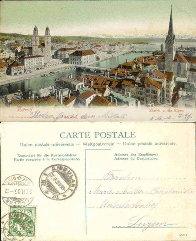 Alte Ansichts-Karten aus der Stadt Zürich mit der Limmat Ak_ch_49