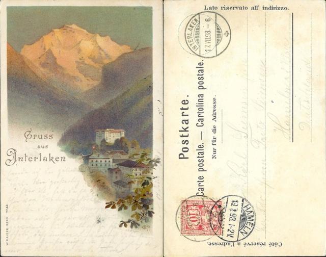 Alte Litho-Karte Interlaken. Ak_ch_68
