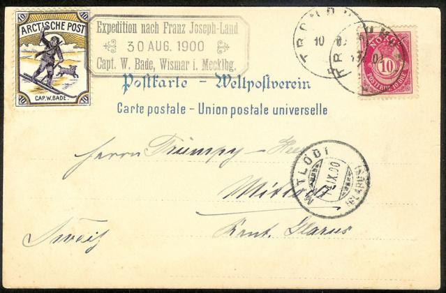 Postkarte mit seltener Vignette. Expedition Arktis. Arktis11