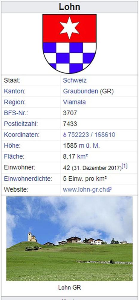 Lohn GR - 42 Einwohner Lohn310