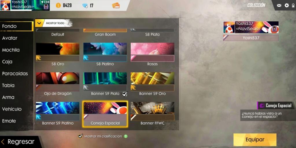 [Cafetería] Avatar y fondo en free fire de Yoshi?  Screen24