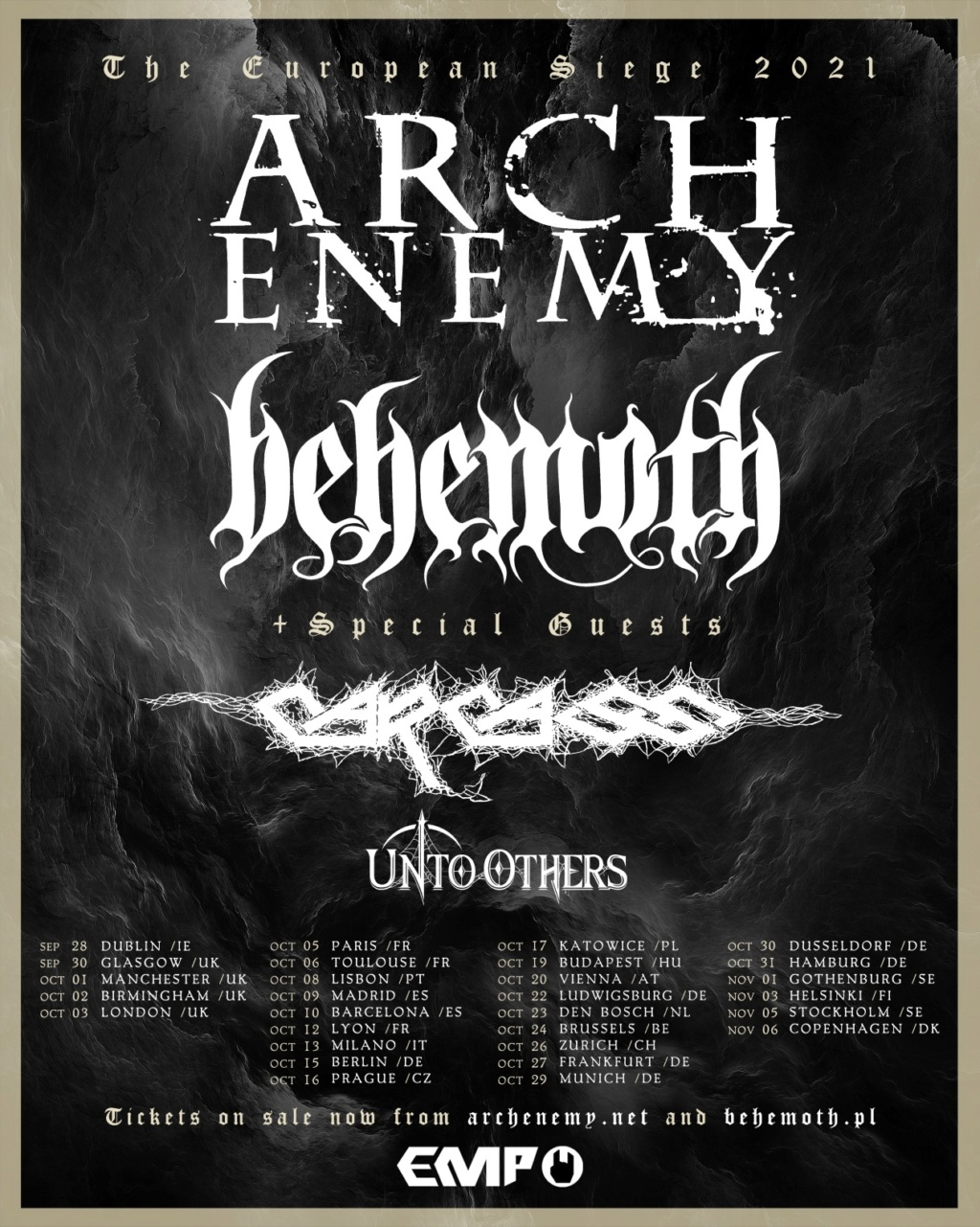 EUROPEAN SIEGE TOUR 2021: Arch Enemy - Behemoth - Carcass 12784710