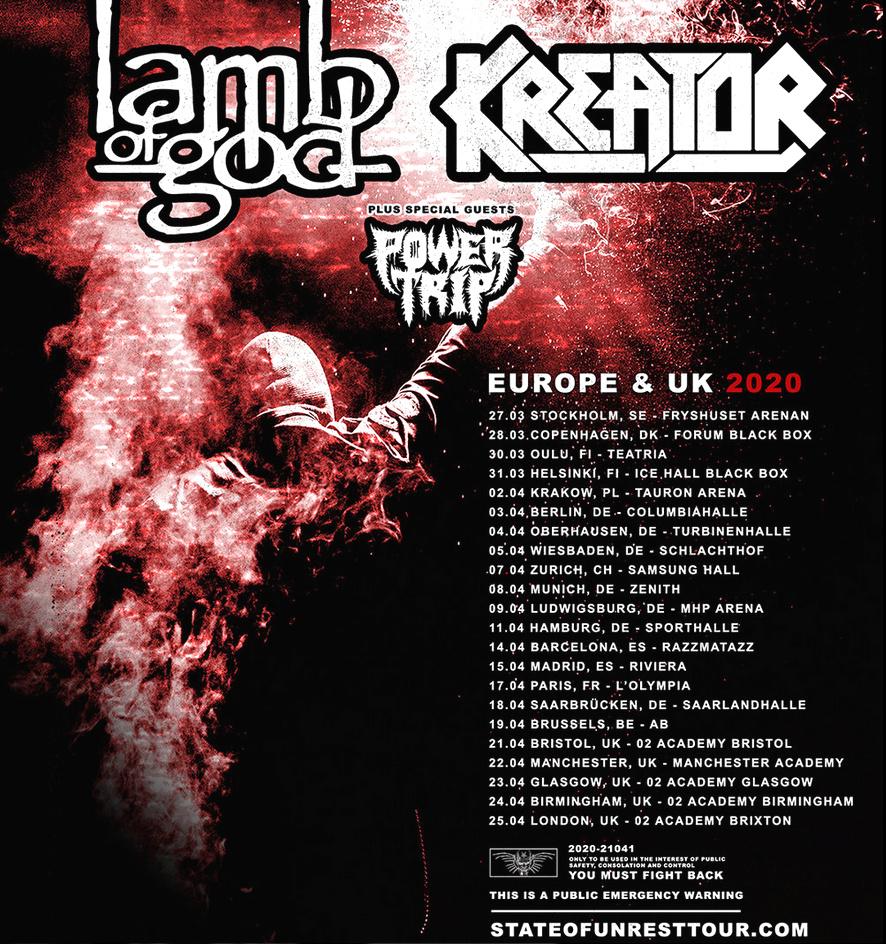 KREATOR et LAMB OF GOD, la tournée 2020 ! 98719810