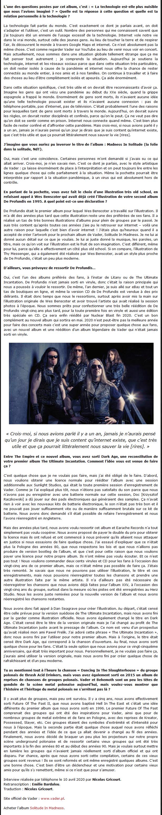 VADER - Interview de Peter par Radio Metal V510