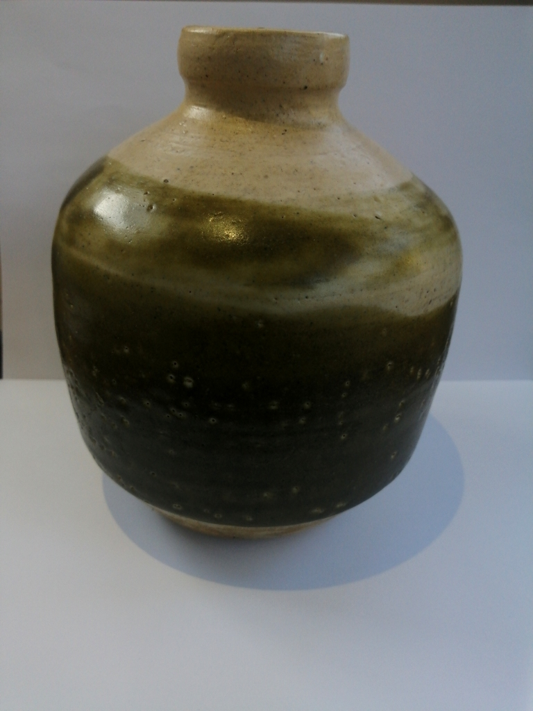 Stone Pot with a green glaze and mark on base Img_2021