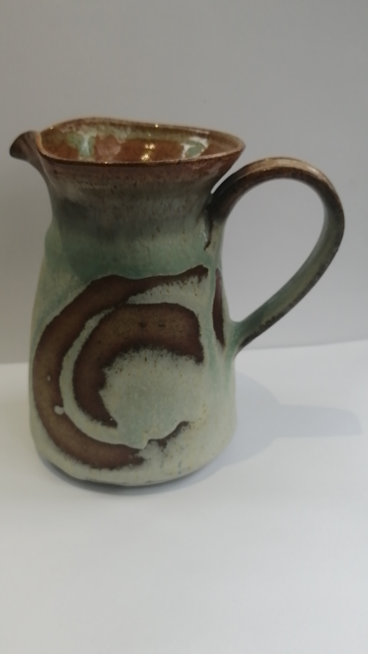 Jug with green tinges in the glaze - incised mark on base Img_2032