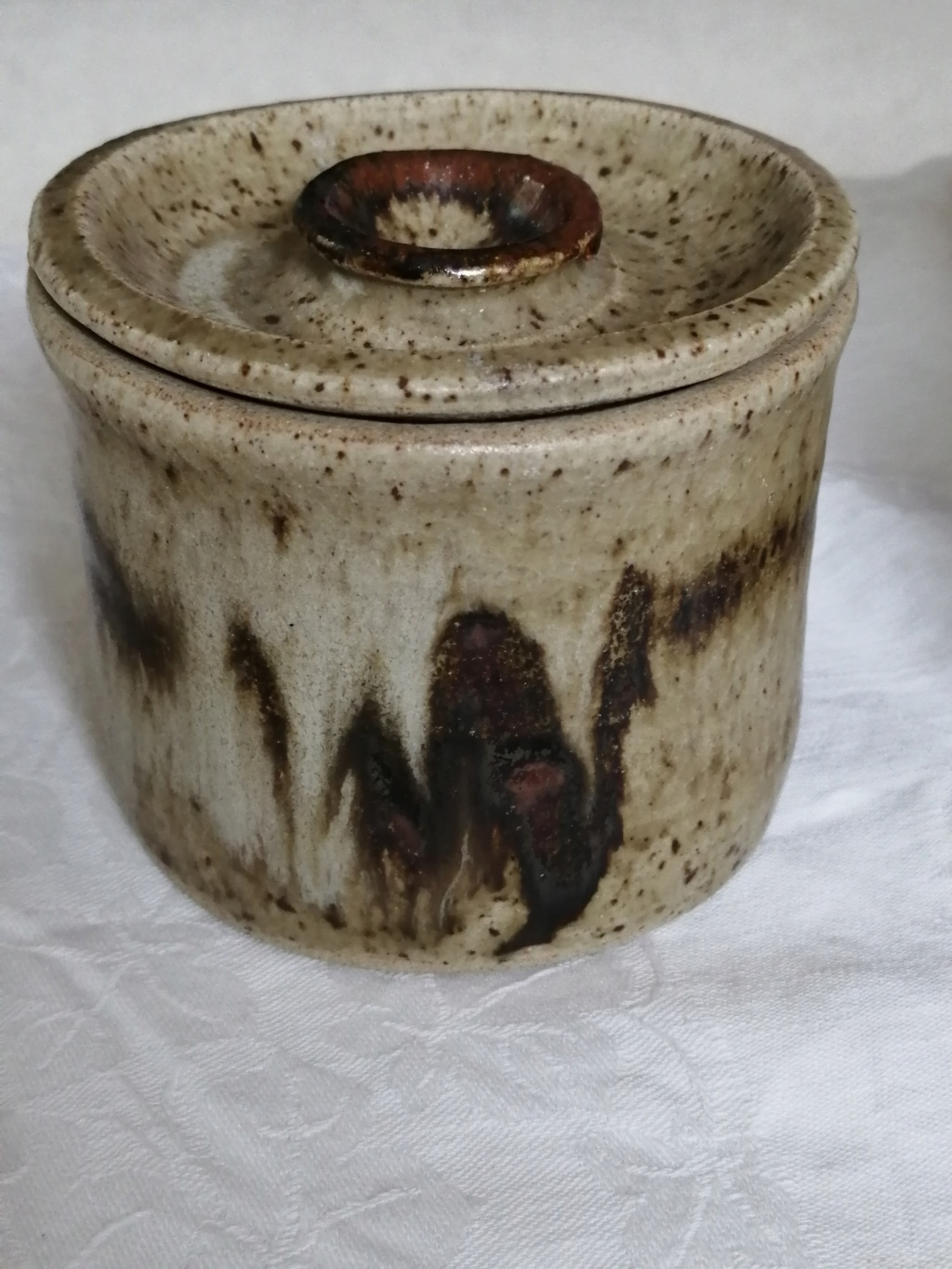 A stoneware pot with lid  Img_2097