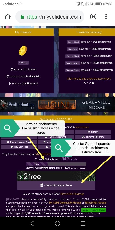 Oportunidade (Testar) - My Solid Coin - Faucet BITCOIN em que podes ganhar mais de 7000 Satoshi por dia de forma gratuita  Img_2029