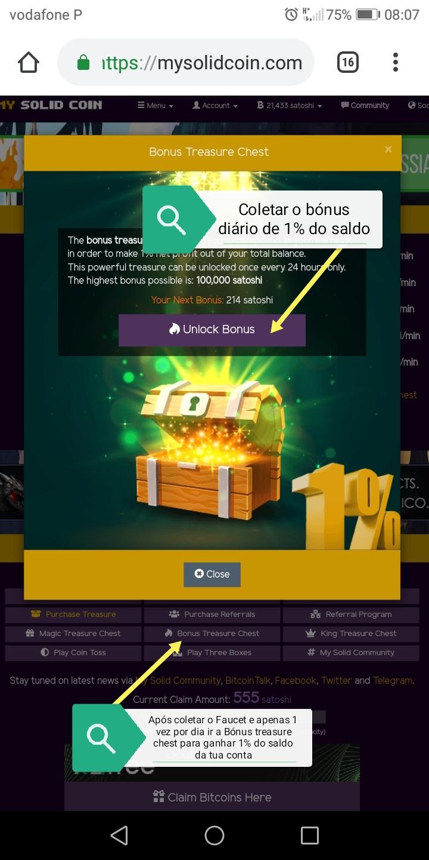 Oportunidade (Testar) - My Solid Coin - Faucet BITCOIN em que podes ganhar mais de 7000 Satoshi por dia de forma gratuita  Img_2030