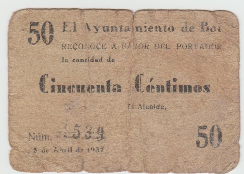 50 Céntimos Bot, 25 abril 1937 Bot10