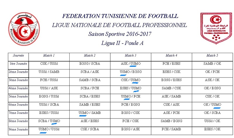 Calendrier Tunisie Ligue 2 2016-2017  Cal11