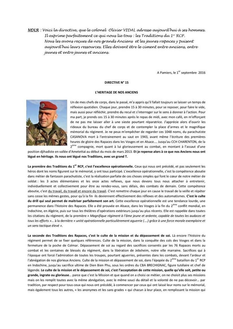 Colonel Olivier VIDAL Directive n°15: La première des Traditions du 1 er RCP, c'est l'excellence opérationnelle, la  seconde  des Traditions des Rapaces, c'est le c ulte  de  la  mission et du dépassement de soi, La troisième, c'est le culte du souvenir. Direct10