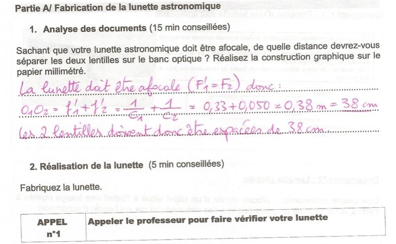 Corrigé du TP n°3 : Lunette astronomique Numyri61