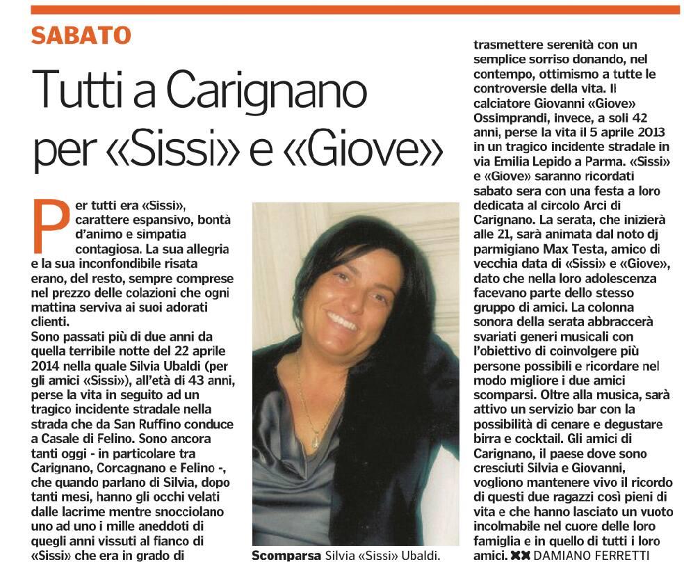 Arci Carignano, sabato 3 settembre si ricordano Sissi e Giove 14125610