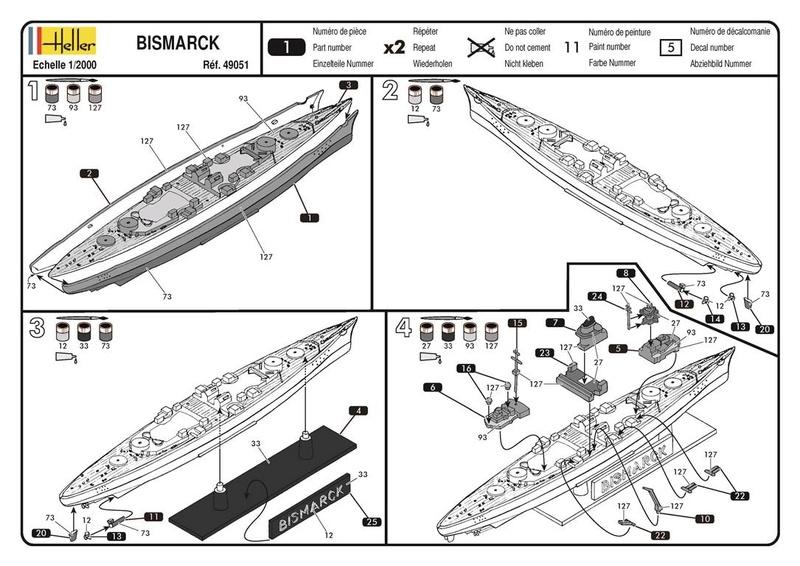 CUIRASSE BISMARCK - HELLER - 1/2000 - REF : 49051 - NOTICE  49051_10