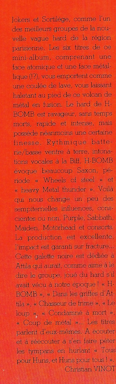 "H-BOMB Coup de métal (Chronique du ""Metal Attack"" Novembre 1984) Numyri13"
