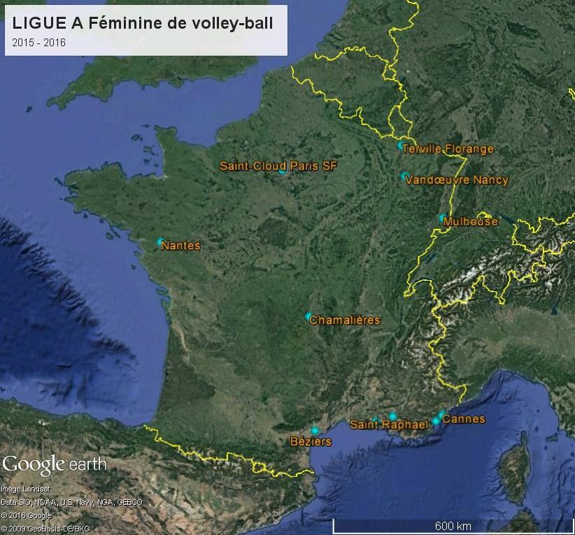 Géographie de la Ligue A Féminine de volley-ball (France) Ligue_10