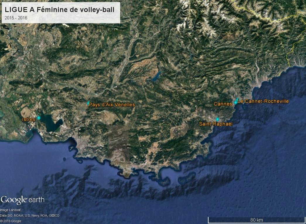 Géographie de la Ligue A Féminine de volley-ball (France) Ligue_11