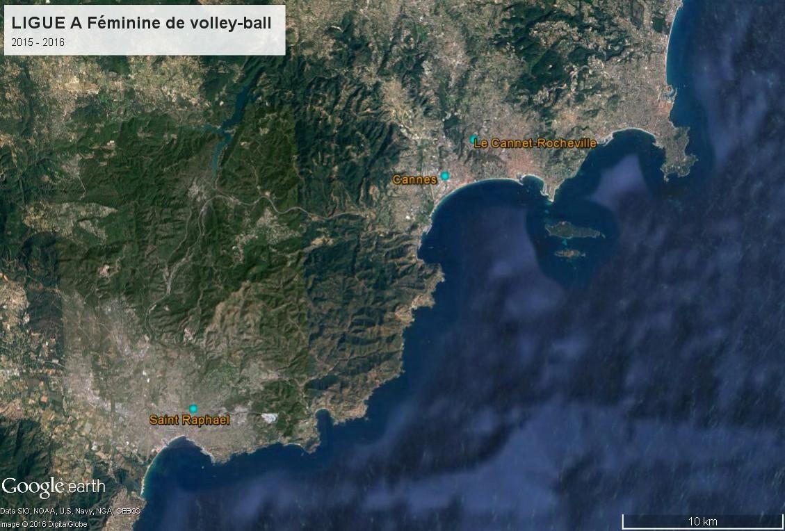 Géographie de la Ligue A Féminine de volley-ball (France) Ligue_12