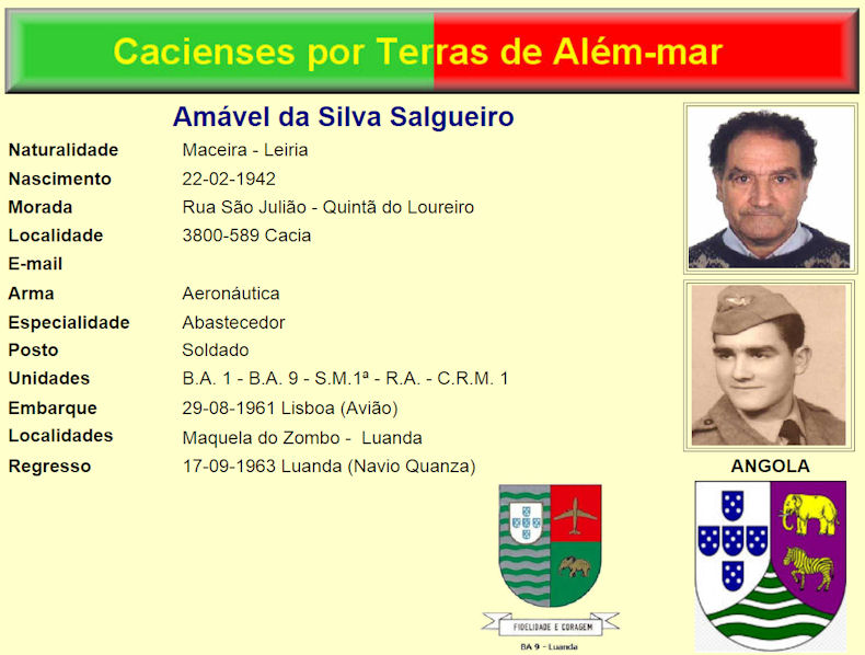 Faleceu o veterano Amável da Silva Salgueiro, Soldado de Abastecimento, da BA9 (Luanda) - 02Out2016 Amavel12