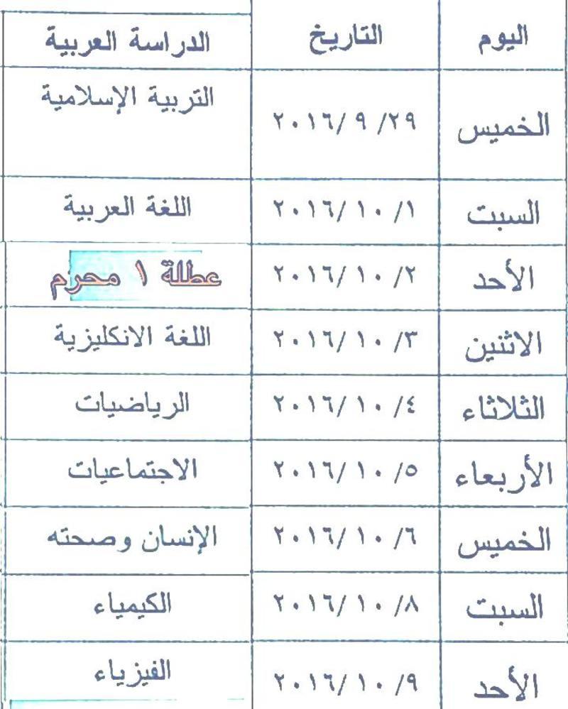 جدول امتحانات الدور الثالث 2016 للسادس الابتدائى والثالث متوسط والسادس الاعدادى بعد التعديل  310