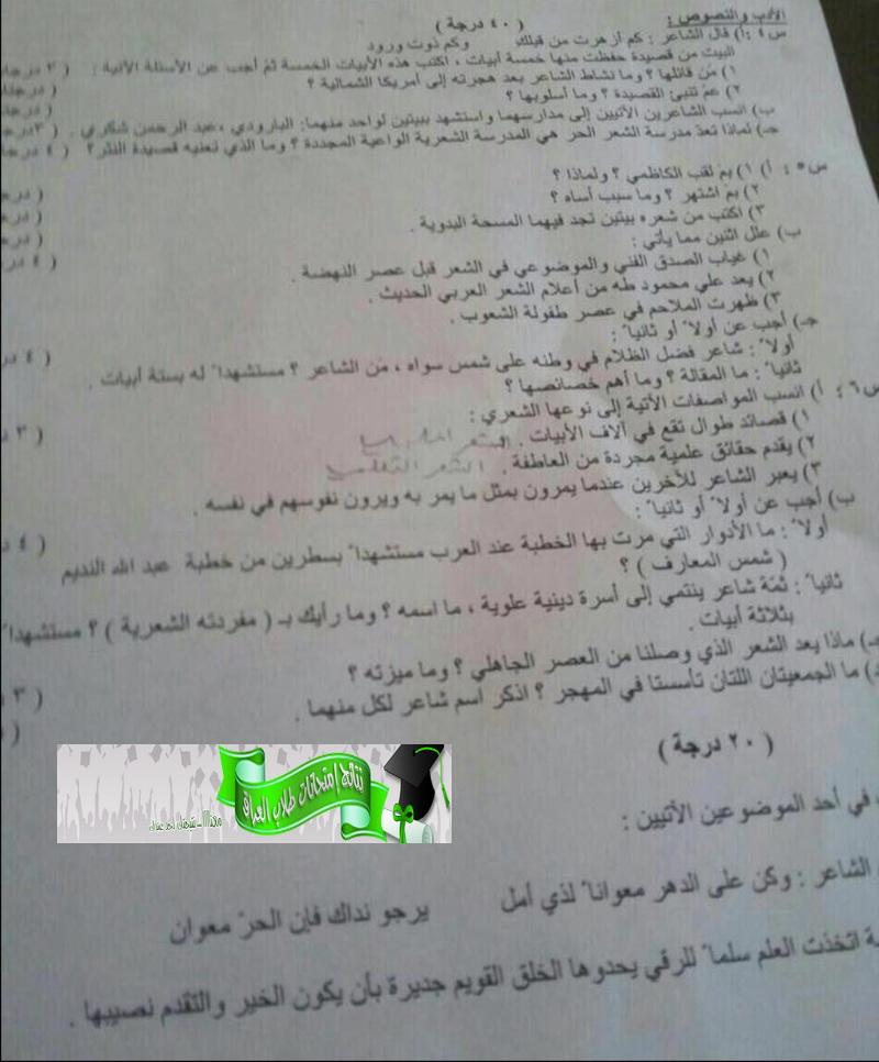 حمل ورقة أسئلة مادة اللغة العربية للسادس العلمى 2016 الدور الثالث فى العراق Am210