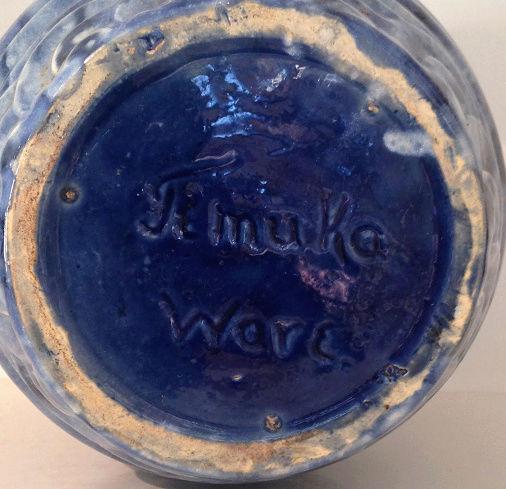 Temuka Ware Maori Motif Blue Vase courtesy steflaw Temuka11