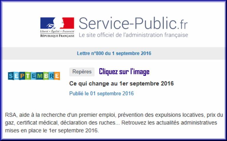 """La lettre N° 800 de """"Service Public"""" pour le 1er septembre 2016 80010"""