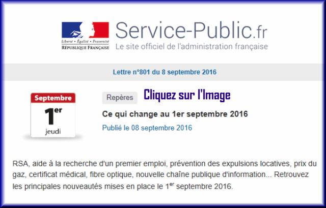 """La lettre N° 801 de """"Service Public"""" pour le 08 septembre 2016 80110"""