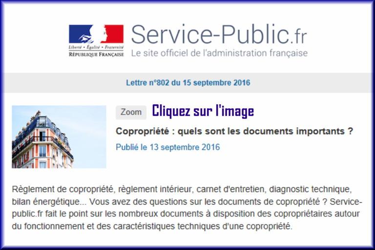 """La lettre N° 802 de """"Service Public"""" pour le 15 septembre 2016 80210"""