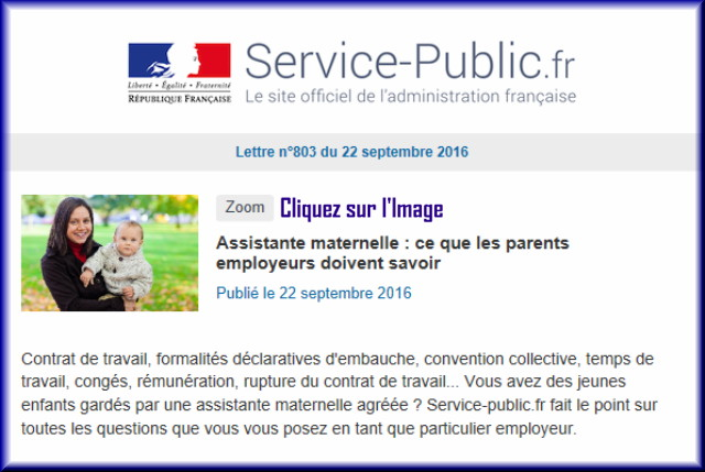 """La lettre N° 803 de """"Service Public"""" pour le 22 septembre 2016 80310"""