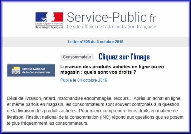 """La lettre N° 805 de """"Service Public"""" pour le 06 Octobre 2016 80510"""