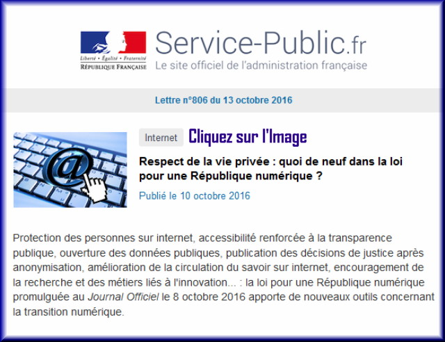 """La lettre N° 806 de """"Service Public"""" pour le 13 Octobre 2016 80610"""