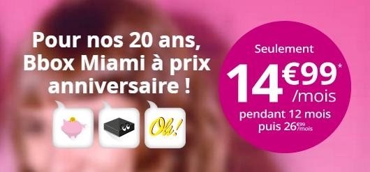 Prolongation de l'offre Bbox Miami à14,99€ /mois Bboxof10