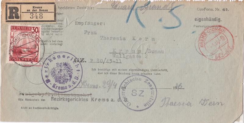 Postgebühren für Rückscheinbriefe der Behörden in der 2.Republik Img33