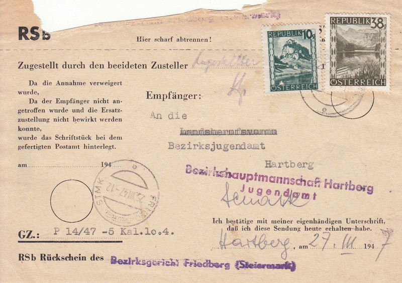 Postgebühren für Rückscheinbriefe der Behörden in der 2.Republik Img36
