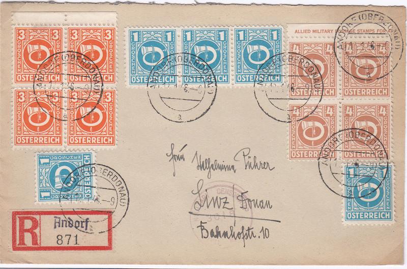 Posthornzeichnung  -  ANK 697-713  -  Belege - Seite 2 Img41