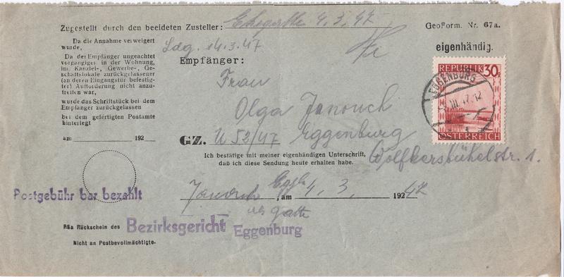 Postgebühren für Rückscheinbriefe der Behörden in der 2.Republik Img_0035