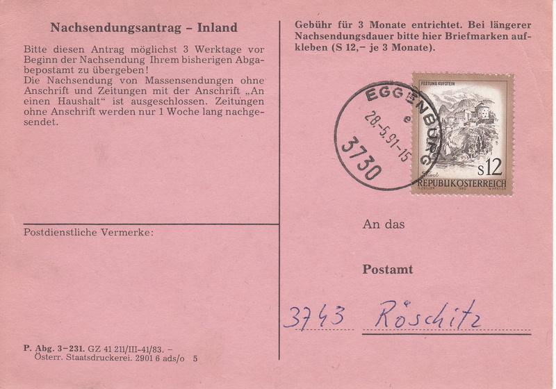 Drucksorten der Post - Nachsendungsantrag Img_0061