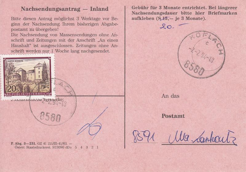 Drucksorten der Post - Nachsendungsantrag Img_0062