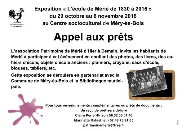 """OCTOBRE 2016 - Appel aux prêts de documents  pour l'expo """"l'école de Mérié"""" 00_app10"""