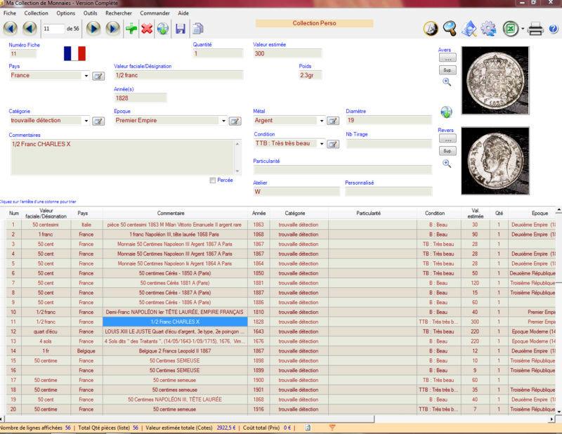 logiciel ma collection de monnaies Captu10