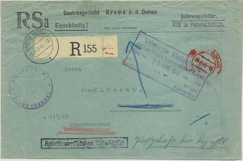 Postgebühren für Rückscheinbriefe der Behörden in der 2.Republik 19450810