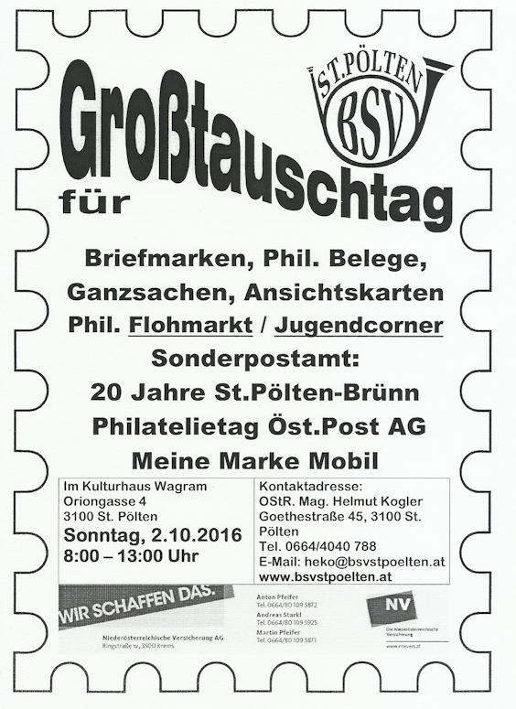 Oktober 2016 für Nieder- und Oberösterreich Tausch10